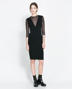 ZARA - WOMAN - DRESS WITH SHEER NECKLINE $40, down from $80. js