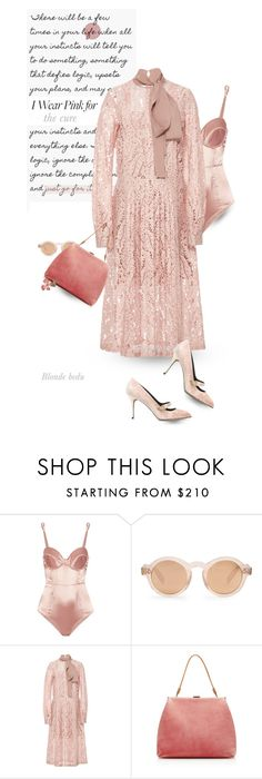 """""""I wear pink for ... the cure"""" by blonde-bedu ❤ liked on Polyvore featuring Fleur du Mal, Zanzan, N°21, Mansur Gavriel and Wendy Yue"""