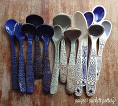 These ceramic serving spoons are each one-of-a-kind and hand built in my studio. All the glazes I use are food safe, and being stoneware, they are oven safe as well. You'll definitely want to hand wash these as their length and shape make them fragile. Using my favorite wooden spoons from...