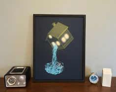 Screenprint of water pouring out of a lit-up house, by Strange Anatomies.