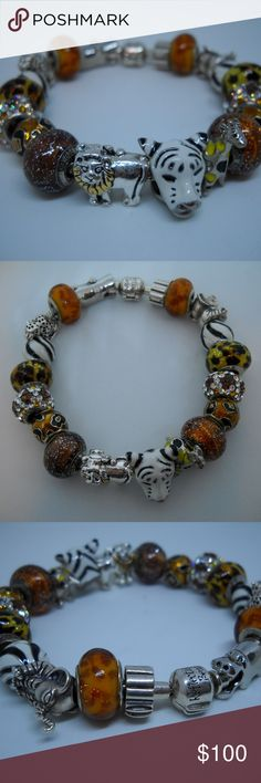 Designer REFLECTION BEADS Sterling Charm Bracelet Designer REFLECTION BEADS (by Quality Gold) 925 Sterling Silver Charm Bracelet with a Zoo/Safari/Animal Theme. It weighs 73.0g and includes Murano glass, Swarovski crystal, brass, and enamel. These beads/charms fit Pandora and Chamilia. I bought new and wore a handful of times. Reflection Beads Jewelry Bracelets
