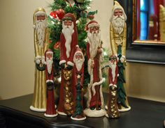 Large Gold Pencil Santa with Tree- FREE SHIPPING. $49.00, via Etsy.