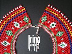 Ukrainian seed bead necklace kryza Lemko krywulka Traditional | Etsy Beaded Earrings, Beaded Jewelry, Handmade Jewelry, Beaded Necklaces, Seed Bead Necklace, Seed Beads, Beaded Collar, Minimalist Earrings, Tribal Jewelry