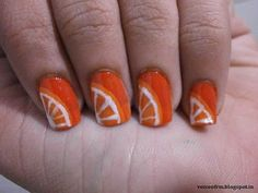Orange Nail Art with Step-by-step how to / tutorial
