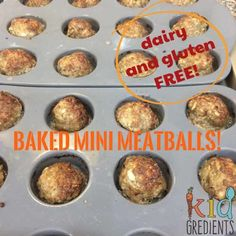 These freezer friendly, kid friendly, hidden veggie baked mini meatballs are gluten free and dairy free. Dairy Free Snacks, Dairy Free Breakfasts, Dairy Free Recipes, Baby Food Recipes, Toddler Recipes, Dinner Recipes, Toddler Lunches, Toddler Food, Toddler Dinners