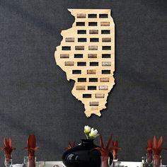 ★ HANDMADE WITH CARE IN AMERICA ★  Lovingly crafted with exquisite 1/4 Birch plywood plywood, our wine cork holders are quick & easy to hang with pre-drilled holes and your own finishing nails. Just enjoy your wine, and let the cork dry, then slide it into our custom made slots to make your Illinois map a noteworthy piece of wine wall art. Add our deluxe dark walnut stain for a smooth, deep finish. Each wine cork map measures 13.1 x 23.5 and holds up to 36 standard sized corks.  ★ H...