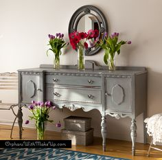 """Painted with Chalk Paint® decorative paint by Annie Sloan. """"Paris Grey"""" for the first coat and then a little bit of """"Graphite"""" added to the """"Paris Grey"""" for the second coat to achieve a layering effect."""