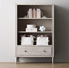 marcelle bookcase in vintage grey finish. #rhbabyandchild