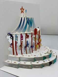 Happy Birthday Carousel pop up greeting card Circus Decorations, Carnival Themes, Paper Decorations, Diy Paper, Paper Crafts, Carousel Party, Birthday Cards, Happy Birthday, Up Book