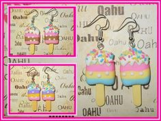 Yummy Ice Cream Popsicle Layered Sprinkle Silver Plated Earrings USA HANDMADE #handmade #DropDangle