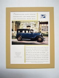 1929 Buick Vintage Advertisement Matted 11x14 Antique Car Ad Automotive Wall Art Man Cave Decor Original Automobile Magazine Print Ad by RelicEclectic on Etsy