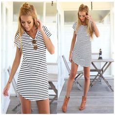 New Women Crew Neck Short Sleeve Striped Loose T-Shirt Mini Dress Sundress Plus Size Women Beach Summer Dress t shirt dress♦️ B E S T Online Marketplace - SaleVenue ♦️👉🏿 http://www.salevenue.co.uk/products/new-women-crew-neck-short-sleeve-striped-loose-t-shirt-mini-dress-sundress-plus-size-women-beach-summer-dress-t-shirt-dress/ US $7.54