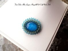 Original handmade and bead embroidered brooch - True colors - Blue Lagoon  Ask a Question $22.14 USD. CZECH REPUBLIC