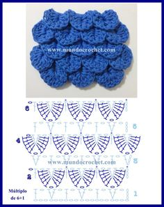 Como tejer el punto cocodrilo o escama a crochet o ganchillo patrono diagrama