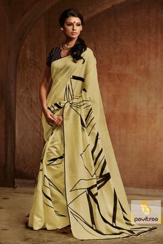 Elegant color cream printed wear Saree is designed with high quality Bhagalpuri silk fabrics, printed works, best color combination and semi stitched blouse.