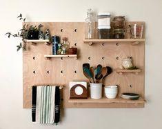 Modern Wood Pegboard Shelf: Large Rectangle x / Minimalist Shelving / Trendy Wall Shelf / Wooden Wall Shelf – Basement İdeas 2020 Wooden Pegboard, Wooden Wall Shelves, Wooden Walls, Floating Shelves, Wall Wood, Pegboard Storage, Velvet Acorn, Cnc, Pattern Baby