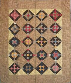Nine-Patch, Amish. Bordered is, I think, typically Amish and fairly rare otherwise. Amish Quilt Patterns, Amish Quilts, Star Quilts, Scrappy Quilts, Antique Quilts, Vintage Quilts, Hunters Star Quilt, Quilt Display, Nine Patch Quilt