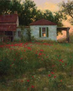 Quiet Repose by Mark Haworth Oil ~ 20 x 16 Landscape Art, Landscape Paintings, Summer Landscape, Photo D Art, Great Paintings, Art And Architecture, Gouache, Painting Inspiration, Old Houses