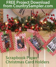 Turn your Christmas cards into part of your decor with these instructions for crafting coordinating photo card holders, as seen in our November 2013 issue. Christmas Card Display, Christmas Card Holders, Diy Christmas Cards, Christmas Projects, Fun Projects, Holiday Crafts, Christmas Holidays, Christmas Wreaths, Christmas Decorations