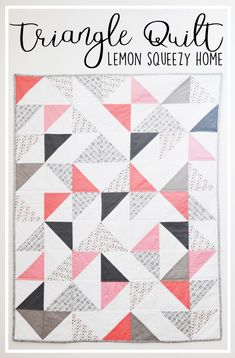 Triangle Quilt Tutorial // lemon squeezy homeYou can find Modern baby quilts and more on our website.Triangle Quilt Tutorial // lemon squeezy home Quilt Baby, Cot Quilt, Baby Quilt Patterns, Baby Girl Quilts, Girls Quilts, Owl Patterns, Modern Baby Quilts, Twin Quilt, Quilting Patterns