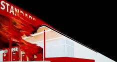 Ed Ruscha BURNING GAS STATION  1966 oil on canvas 20 1/2 x 39 inches