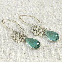 Caribbean Blue Quartz Dangle Earrings by shopshrew on Etsy, $165.00