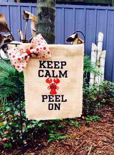 Keep Calm and Peel On Crawfish Monogrammed Burlap Garden Flag on Etsy, $30.00