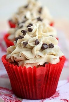 Chocolate Chip Cookie Dough Cupcakes | The Girl Who Ate Everything