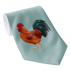 Rhode Island Red Rooster Crowing Neck Tie - red gifts color style cyo diy personalize unique