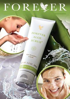 "Aloe Scrub Jojoba oil suspended in pure aloe vera, gentle enough to use every day – even on your face – works together to slough off dead skin cells, open up pores and clear the way for your skin's unique renewal process, revealing radiant, ""new,"" healthier skin. Order:www.foreverhealthy2014.flp.com"