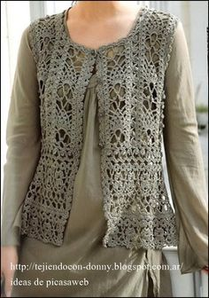 CROCHET - Open Gilet with charts at source