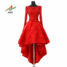 long sleeve red lace prom dress