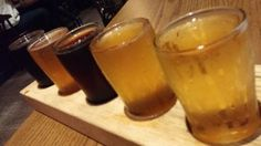 Taft's Ale House beer tasting lineup, photo by Kevin Gibson