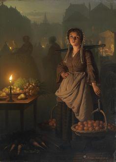 diaphanee:  Petrus van Schendel (Belgian 1806-1870), Market by candlelight