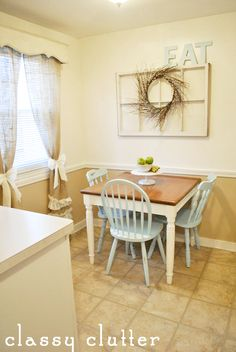 Dining Room Makeover... another one! - Classy Clutter (NOTE: square dining table in light color)
