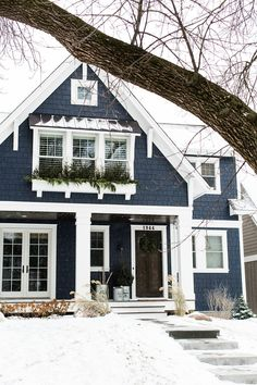 42 beautiful modern house ideas to make classy and unique house design 17 Exterior Paint Colors For House, Dream House Exterior, Paint Colors For Home, Blue House Exteriors, House Siding Colors, Home Exterior Design, House Ideas Exterior, Outside House Paint Colors, Cottage Exterior Colors