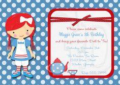 little girl's raggedy ann tea party - perfect! Tea Party Invitations, Digital Invitations, Shower Invitations, Invite, Thank You Card Images, Thank You Cards, Tea Party Birthday, 2nd Birthday, Birthday Ideas