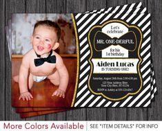 Mr. ONEderful Birthday Invitation - Mr One-derful Tuxedo Birthday Invitations - Black and Gold First Birthday Invite by PuggyPrints