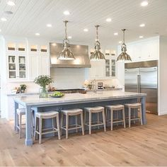 More ideas below: Rustic Large Kitchen Layout Design Farmhouse Large Kitchen Window Luxury Large Kitchen Island and Rug Modern Large Kitchen Decor Ideas Large Kitchen Floor Plans Remodel Farmhouse Kitchen Island, Rustic Kitchen, New Kitchen, Awesome Kitchen, Kitchen Corner, Beautiful Kitchen, Blue Kitchen Island, Long Kitchen Islands, Kitchen Island With Seating For 6