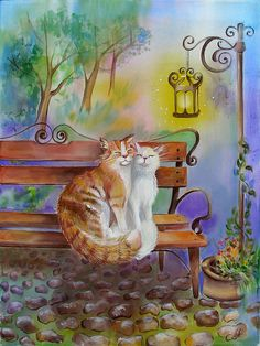 Annette Loginova Two Cats On The Bench