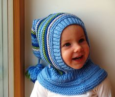 Hand knitted Blue Balaclava hat. Wool hoodie elf hat for baby, toddler and children . Made from blue, bright green, royal blue and grey merino wool, Soft and very functional - perfect to keep the little ones warm and cozy during cold days.  Size:6-12 Months  1-3 Years 3-6 Years 6-10 Years   Price: 40$