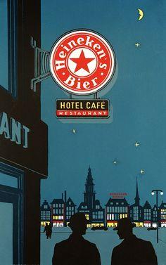 Vintage Ad  From Heineken's Archives -  Night Sky, Lighted Beer Sign http://www.crownwineandspirits.com/brands/Heineken-Brewery.html