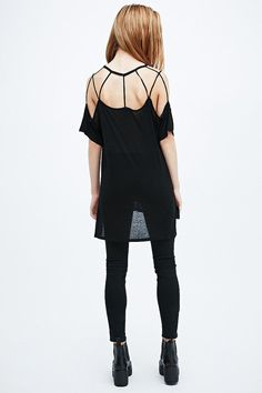 Sparkle & Fade Cut-Out Slouchy Tee in Black on shopstyle.co.uk