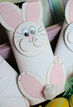 .Easter bunny craft. Make a cute bunny decoration from a toilet paper roll and construction paper or make this to cover a candybar