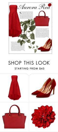 """Aurora red"" by ginger-ness ❤ liked on Polyvore featuring Kershaw, ML Monique Lhuillier, Rupert Sanderson and MICHAEL Michael Kors"
