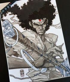🙂 /Character ©Gonzo /Image ©L.O.N Samurai Drawing, Samurai Tattoo, Samurai Afro, Dove Tattoos, Spine Tattoos, Baka And Test, Black Anime Characters, Black Comics, African American Art
