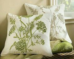 Queen Anne Embroidered Pillow Cover- Artful needlework creates a field of wildflowers on our pillow cover, with hand-embroidered French knots forming the frothy blossoms of Queen Anne's Lace. Cushion Embroidery, Embroidered Cushions, Crewel Embroidery, Embroidery Patterns, French Knot Embroidery, Silk Ribbon Embroidery, French Knot Hairstyle, Broderie Simple, Diy Pillow Covers