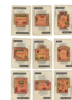 Vintage Clue game cards (rooms) by OnFoot4now (Didi), via Flickr