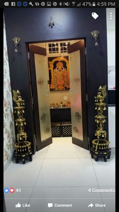 homes interior ideas Pooja Room Door Design, Home Room Design, House Design, Roof Design, Ceiling Design, Temple Room, Temple House, Temple Design For Home, Silver Pooja Items