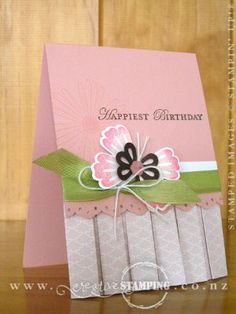 This box-pleat card was made using the Simply Scored scoring tool from the Autumn-Winter Mini.  Also from the mini is the Blossom Punch and Mixed Bunch floral stamp set, trimmed down to make a cute butterfly.
